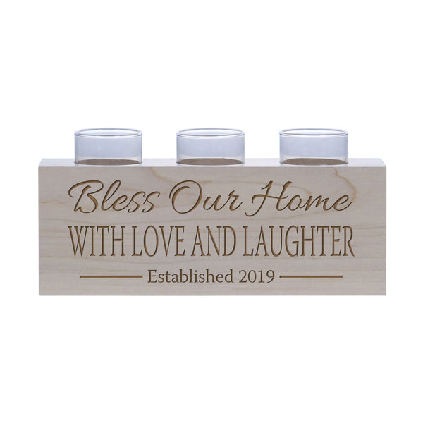 "LifeSong Milestones Personalized Family Established Handcrafted Candle Holder Decor Gift - Custom Housewarming Engraved Maple Wood Keepsake Ideas for Loved One 10"" L x 4"" H"