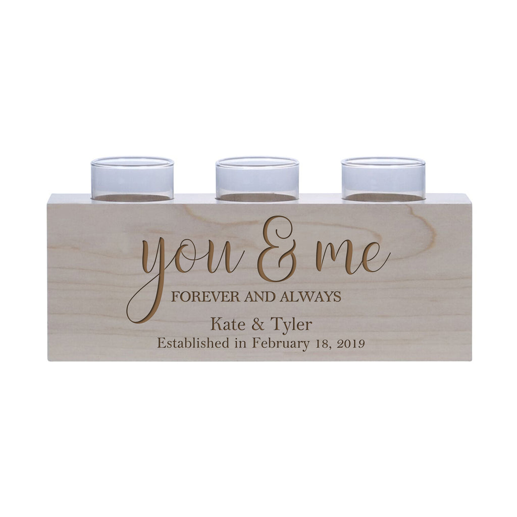 Personalized Handcrafted Wedding Maple Candle Holder - You & Me