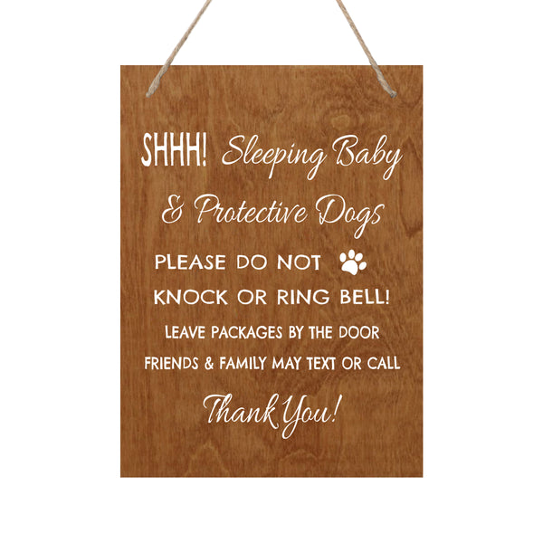 LifeSong Milestones Sleeping Baby Protective Puppies Baltic Birch Rope Hanging Sign for Front Door - Do Not Knock or Ring Doorbell - Quiet Entry for House New Home Decor - 8x9.75
