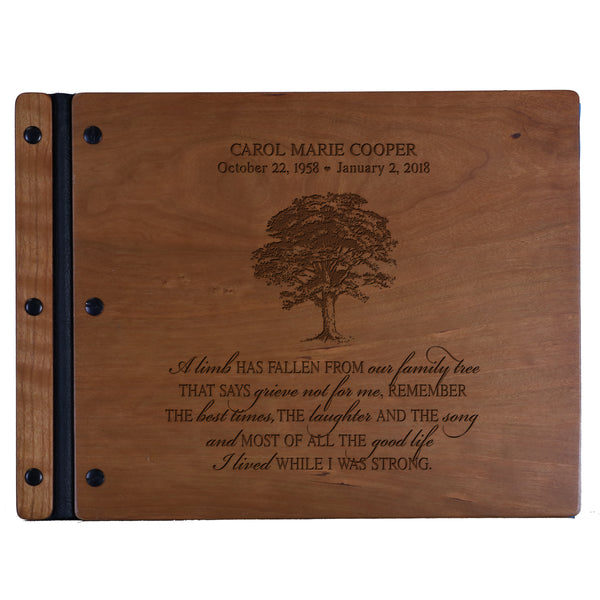 Lifesong Milestones Engraved Personalized Solid Wood Memorial Sympathy Ceremony Guest Book for Funeral Service - Loss of Loved One Celebration of Life 13.5x10