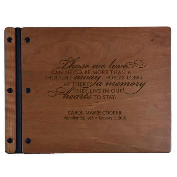 Lifesong Milestones Engraved Personalized Solid Cherry Wood Memorial Sympathy Ceremony Guest Book for Funeral Service - Loss of Loved One Celebration of Life