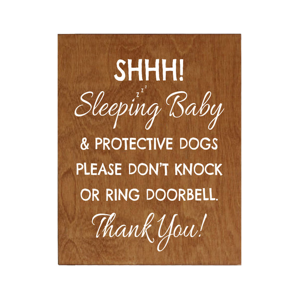 LifeSong Milestones Sleeping Baby Protective Puppies Baltic Birch Sign for Front Door - Do Not Knock or Ring Doorbell - Quiet Entry for House Home Decor - 8x10
