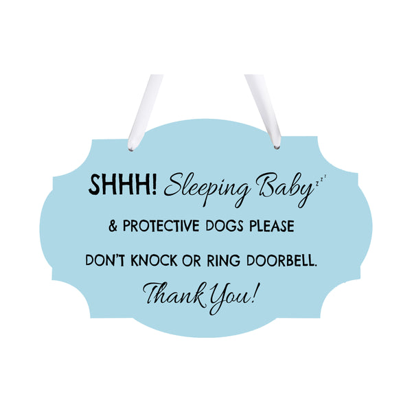 LifeSong Milestones Sleeping Baby Protective Puppies Rope Hanging Sign for Front Door - Do Not Knock or Ring Doorbell - Quiet Entry for House New Home Decor - 8x12