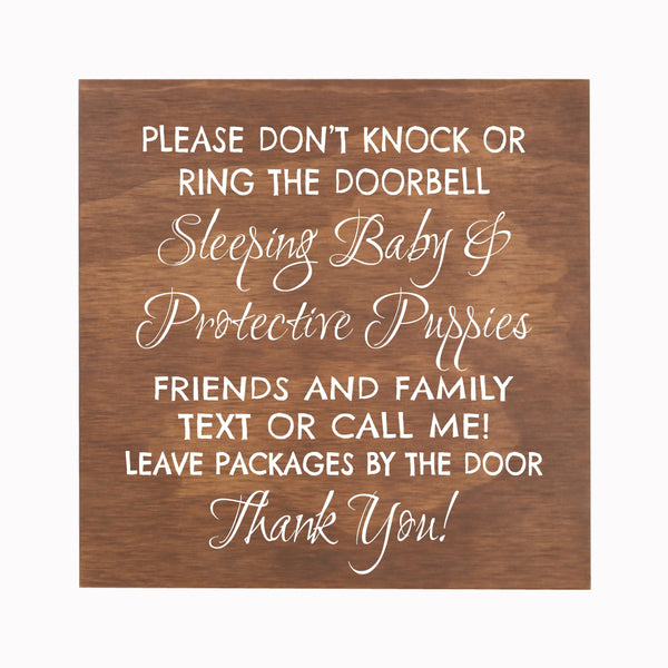LifeSong Milestones Sleeping Baby Protective Puppies Baltic Birch Hanging Sign for Front Door - Do Not Knock or Ring Doorbell - Quiet Entry for House New Home Decor - 10x10