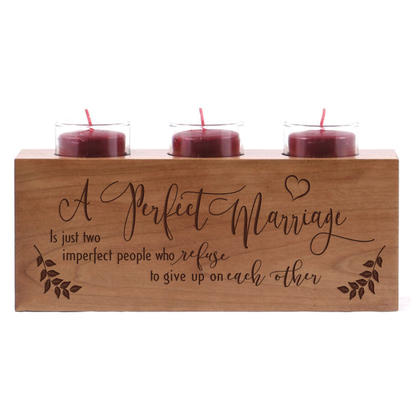 Lifesong Milestones A Perfect Marriage is Just two Imperfect People Wedding Anniversary gifts for Couple Engraved Cherry Wooden Candle Holder