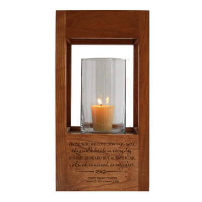 "Lifesong Milestones Personalized Funeral Keepsake Cremation Urn For Human Ashes Memorial Lantern - Sympathy Solid Cherry Wooden Candle Holder - 6.5"" x 6.5"" x 13"""