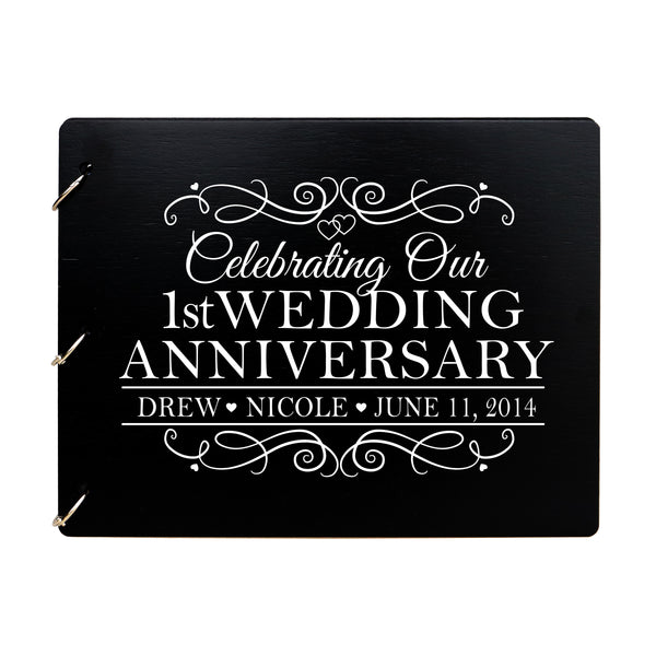 LifeSong Milestones Personalized 1st Wedding Anniversary Guest Book for Couple - Husband and Wife 1 Year of Marriage Celebration Ceremony, Wooden Black Signature Registry Guest Book for First Wedding Anniversary Party