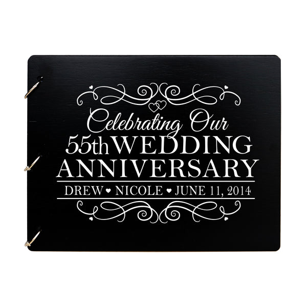 LifeSong Milestones Personalized 55th Wedding Anniversary Guest Book for Couple - Husband and Wife 55 Years of Marriage Celebration Ceremony, Wooden Black Signature Registry Guest Book for Fifty-fifth Wedding Anniversary Party
