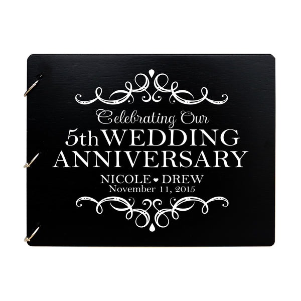 LifeSong Milestones Personalized 5th Wedding Anniversary Guest Book for Couple - Husband and Wife 5 Years of Marriage Celebration Ceremony, Wooden Black Signature Registry Guest Book for Fifth Wedding Anniversary Party