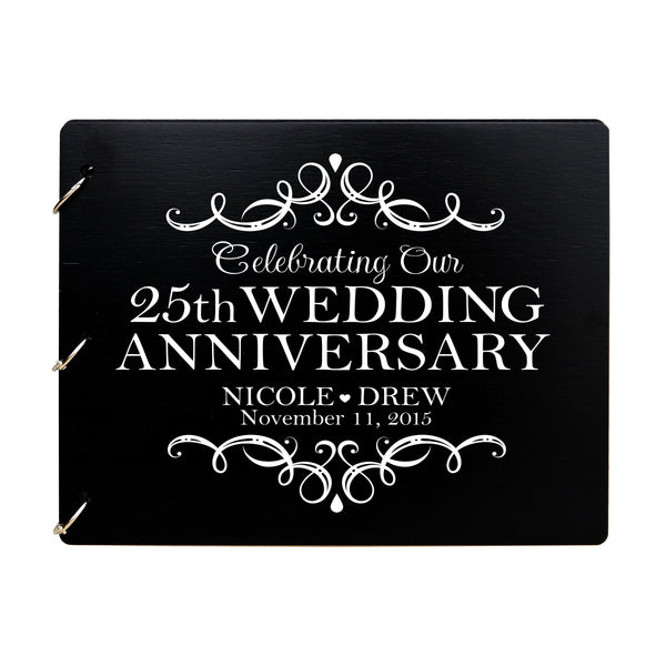 LifeSong Milestones Personalized 25th Wedding Anniversary Guest Book for Couple - Husband and Wife 25 Years of Marriage Celebration Ceremony, Wooden Black Signature Registry Guest Book for Twenty-Fifth Wedding Anniversary Party
