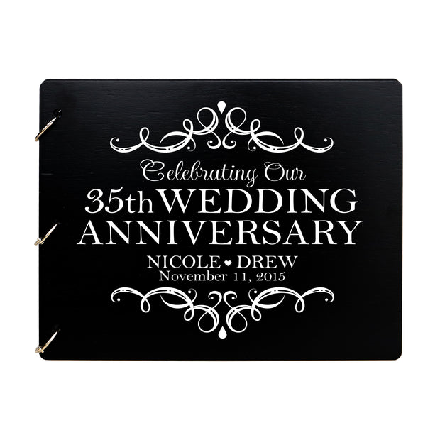 LifeSong Milestones Personalized 35th Wedding Anniversary Guest Book for Couple - Husband and Wife 35 Years of Marriage Celebration Ceremony, Wooden Black Signature Registry Guest Book for Thirty-Fifth Wedding Anniversary Party