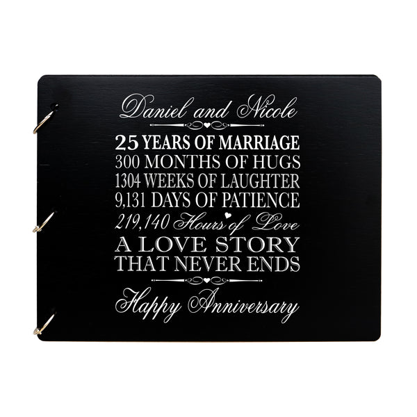 LifeSong Milestones Personalized 25th Wedding Anniversary Guest Book for Couple - Husband and Wife 25 Years of Marriage Celebration Ceremony, Wooden Grey Signature Registry Guest Book for Twenty-Fifth Wedding Anniversary Party