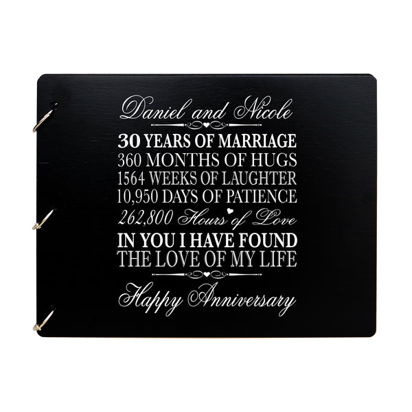 LifeSong Milestones Personalized 30th Wedding Anniversary Guest Book for Couple - Husband and Wife 30 Years of Marriage Celebration Ceremony, Wooden Black Signature Registry Guest Book for Thirtieth Wedding Anniversary Party
