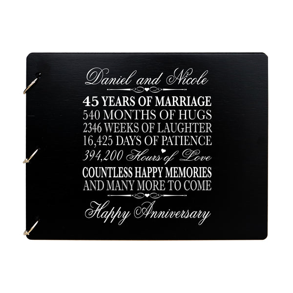 LifeSong Milestones Personalized 45th Wedding Anniversary Guest Book for Couple - Husband and Wife 45 Years of Marriage Celebration Ceremony, Wooden Black Signature Registry Guest Book for Forty-Fifth Wedding Anniversary Party