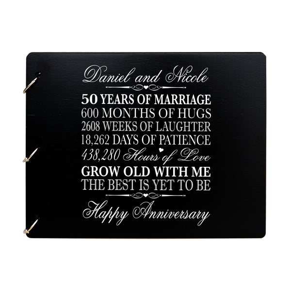 LifeSong Milestones Personalized 50th Wedding Anniversary Guest Book for Couple - Husband and Wife 50 Years of Marriage Celebration Ceremony, Wooden Black Signature Registry Guest Book for Fiftieth Wedding Anniversary Party