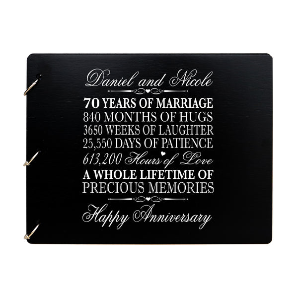 LifeSong Milestones Personalized 70th Wedding Anniversary Guest Book for Couple - Husband and Wife 70 Years of Marriage Celebration Ceremony, Wooden Black Signature Registry Guest Book for Seventieth Wedding Anniversary Party