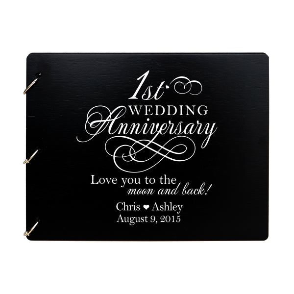 LifeSong Milestones Personalized 1st Wedding Anniversary Guest Book for Couple - Husband and Wife 1 Years of Marriage Celebration Ceremony, Wooden Black Signature Registry Guest Book for First Wedding Anniversary Party