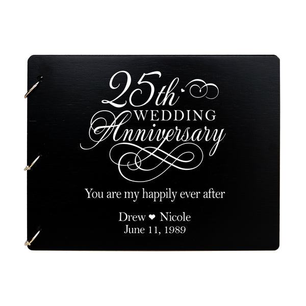 LifeSong Milestones Personalized 25th Wedding Anniversary Guest Book for Couple - Husband and Wife 25 Years of Marriage Celebration Ceremony, Wooden Black Signature Registry Guest Book for Twenty Fifth Wedding Anniversary Party
