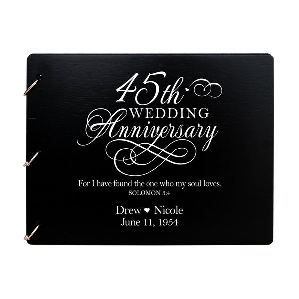 LifeSong Milestones Personalized 45th Wedding Anniversary Guest Book for Couple - Husband and Wife 45 Years of Marriage Celebration Ceremony, Wooden Black Signature Registry Guest Book for Forty Fifth Wedding Anniversary Party
