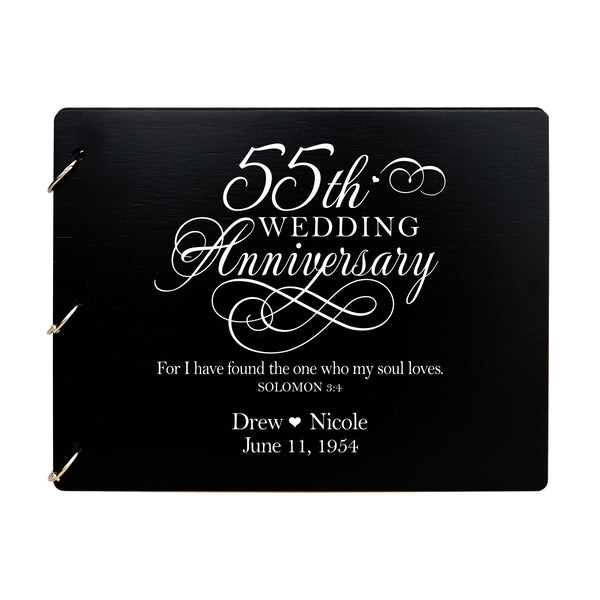 LifeSong Milestones Personalized 55th Wedding Anniversary Guest Book for Couple - Husband and Wife 55 Years of Marriage Celebration Ceremony, Wooden Black Signature Registry Guest Book for Fifty Fifth Wedding Anniversary Party