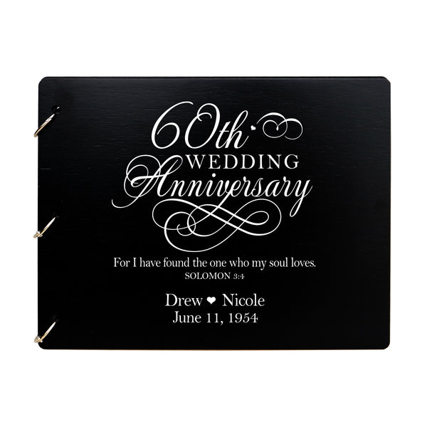 LifeSong Milestones Personalized 60th Wedding Anniversary Guest Book for Couple - Husband and Wife 60 Years of Marriage Celebration Ceremony, Wooden Black Signature Registry Guest Book for Sixtieth Wedding Anniversary Party