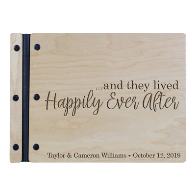 "Custom Engraved Wooden Wedding Guest book 11"" x 8.5"" - ...and they lived Happily Ever After (SCRIPT)"