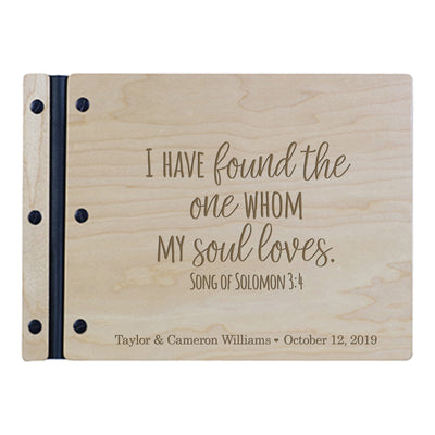 "Custom Engraved Wooden Wedding Guest book 11"" x 8.5"" - I have found the one whom my soul loves (SCRIPT)"