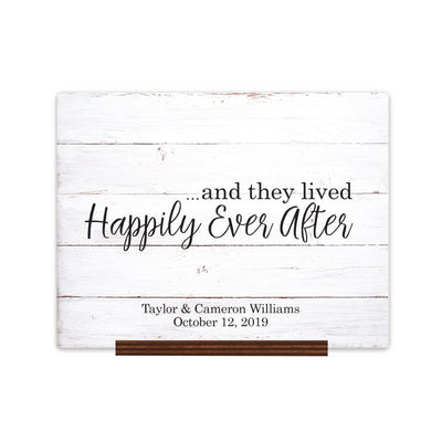"Custom Wedding Guestbook Sign w/ Stand 15"" x 12"" - ...and they lived Happily Ever After (Script)"