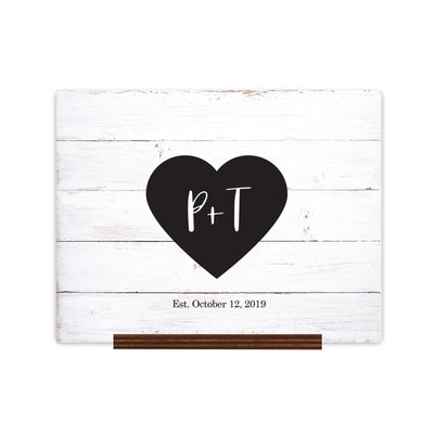 "Custom Wedding Guestbook Sign w/ Stand 15"" x 12"" - P + T (Heart)"