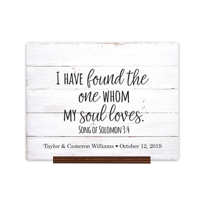"Custom Wedding Guestbook Sign w/ Stand 15"" x 12"" - I have found the one whom my soul loves (Script)"