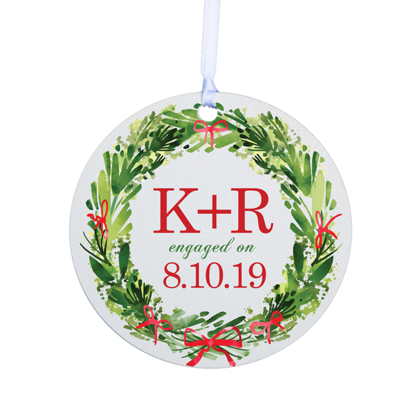 Personalized Christmas Engagement Ornament- Round Wreath
