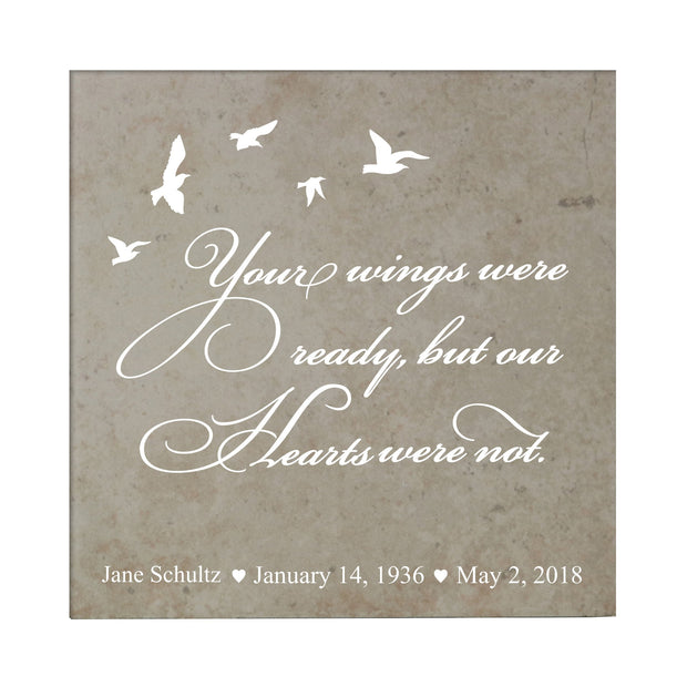 "LifeSong Milestones Memorial Trivet Your Wings Were Ready Bereavement Keepsake Coaster Loss of Loved One Sympathy Home Decor - 5.75"" x 5.75"" x 0.25"""
