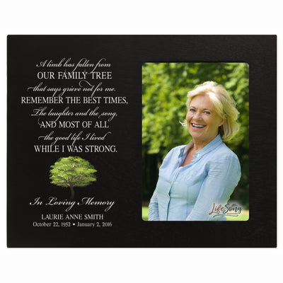 Personalized Wooden Memorial 8x10 Picture Frame holds 4x6 photo A Limb Has Fallen