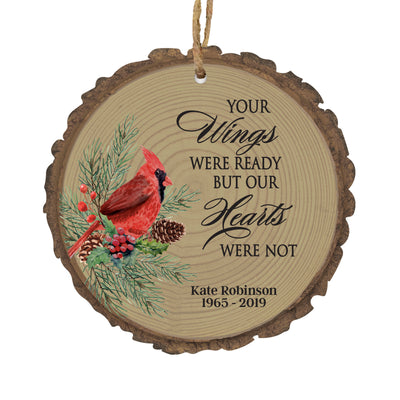 LifeSong Milestones Personalized Memorial Remembrance Christmas Tree Bark Style Ornament Bereavement Sympathy Holiday Keepsake - Loss of Loved One Decoration Gift - 3.75""