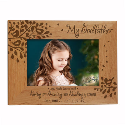"LifeSong Milestones Personalized 8.5""x6.5"" Alder Picture Frame Made of Solid Wood for Baptism or Holy Communion Gift for Couple Tabletop or Wall Mounting Holds 4""x6"" Photo"