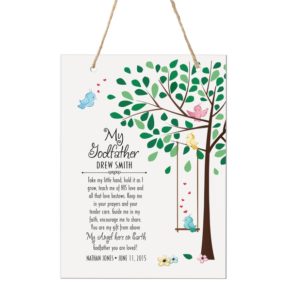 "LifeSong Milestones Personalized Baptism Godchild Tree Project Christening gifts for Godmother from Godchild Godson Goddaughter 6"" x 8"" Rope Signs"