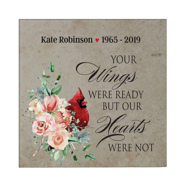"LifeSong Milestones Personalized Memorial Trivet Your Wings Were Ready Bereavement Keepsake Coaster Loss of Loved One Sympathy Home Decor - 5.75"" x 5.75"" x 0.25"""