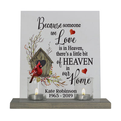 "LifeSong Milestones Personalized Memorial Funeral Candle Holder Holder Loss of Loved Ones 8""x10"" Acrylic Bereavement Sign with Wood Base - Cardinal and Floral Designs"