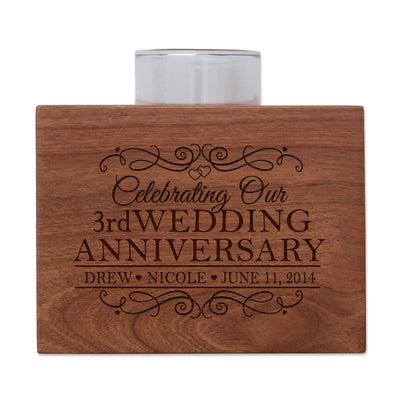 Personalized Cherry Wood Single Votive Candle Holder - 3rd Wedding Anniversary