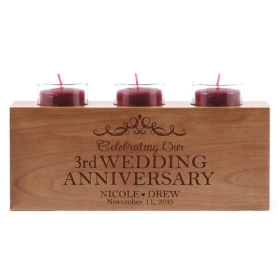 "LifeSong Milestones Personalized Wedding Anniversary 3 Votive Candle Holder -Celebrating Our 3rd Wedding Anniversary Keepsake Candle Holder Gift for Him Her Home Decor - 10"" x 4"" x 4"""