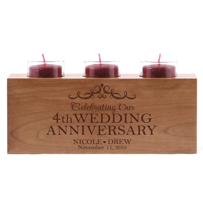 "LifeSong Milestones Personalized Wedding Anniversary 3 Votive Candle Holder -Celebrating Our 4th Wedding Anniversary Keepsake Candle Holder Gift for Him Her Home Decor - 10"" x 4"" x 4"""