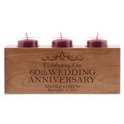 "LifeSong Milestones Personalized Wedding Anniversary 3 Votive Candle Holder -Celebrating Our 60th Wedding Anniversary Keepsake Candle Holder Gift for Him Her Home Decor - 10"" x 4"" x 4"""