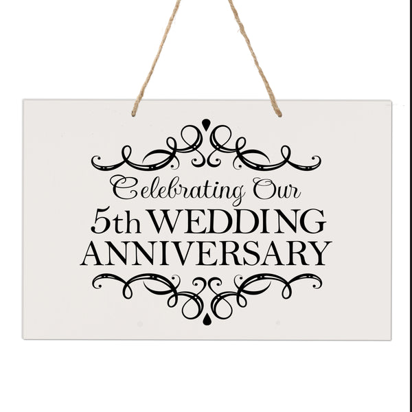 "LifeSong Milestones 5th Anniversary Rope Sign 5 year of marriage - Five Year Wedding Keepsake Gift for parents husband wife him her - Celebrating Our Wedding Anniversary 8"" x 12"""
