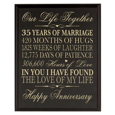 "LifeSong Milestones Our Life Together Anniversary Plaque Year of Marriage - Wedding Keepsake Gift for Parents Husband Wife Him Her 8"" x 10"""