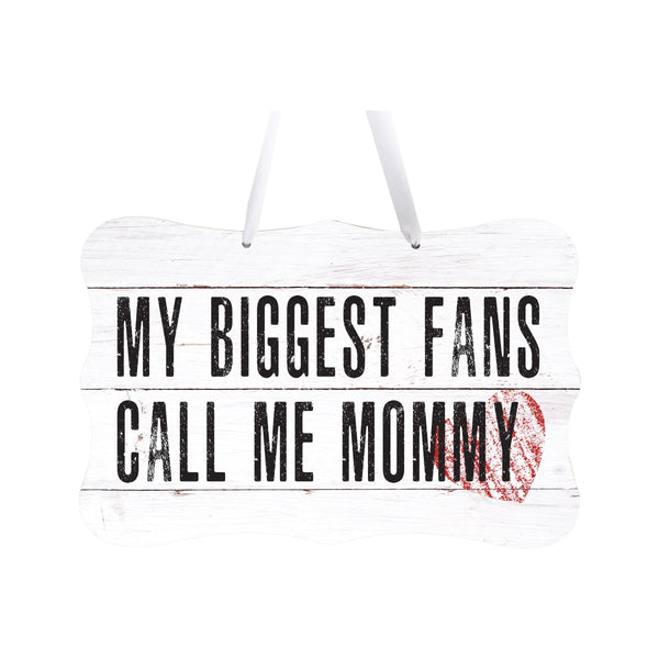"LifeSong Milestones My Biggest Fans Call Me - Wall Decor Ribbon Sign Gift for Grandmother, Grammy, Mom - Rope Sign 8"" x 12"" Includes Ribbon"