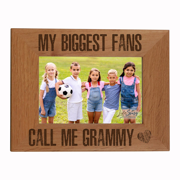 "LifeSong Milestones My Biggest Fans Call Me - Alder Photo Frame Gift for Grandmother, Grammy, Mom - Photo Frame 8"" x 10"" Holds 4"" x 6"" Photo"