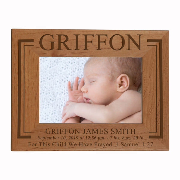 "LifeSong Milestones Personalized Baby Frames Boys and Girls Birth Announcement Photo Frames Nursery or Bedroom - Newborn Picture Frames Hold 4"" x 6"" Photo - Measures 6.5"" x 8.5"""
