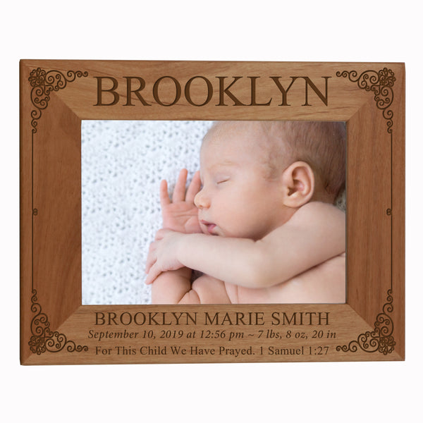 "LifeSong Milestones Personalized Baby Frames Boys and Girls Birth Announcement Photo Frames Nursery or Bedroom - Newborn Picture Frames Hold 5"" x 7"" Photo - Measures 7.5"" x 9.5"""