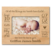 "LifeSong Milestones Personalized Baby Frames Boys Birth AnnouncementPhoto Frames Nursery or Bedroom - Newborn Frames Hold 5"" x 7"" Photo - Measures 7.5"" x 9.5"""