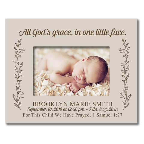 "LifeSong Milestones Personalized Baby Frames Girls Birth AnnouncementPhoto Frames Nursery or Bedroom - Newborn Frames Hold 5"" x 7"" Photo - Measures 7.5"" x 9.5"""